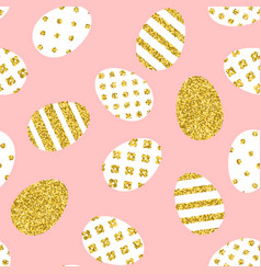 golden easter eggs pattern vector image