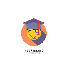 graduation caps logo vector image
