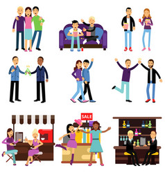 groups of girls and boys best friends having good vector image