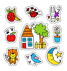Hand drawn summer stickers vector