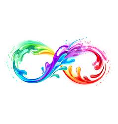 Infinity symbol with rainbow paint vector