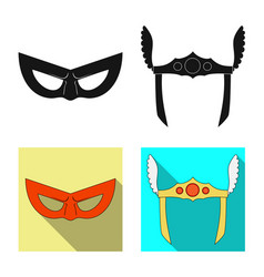 isolated object of hero and mask icon collection vector image