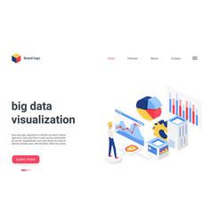 isometric big data analysis visualization landing vector image