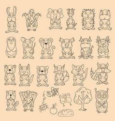 large set of wild and domestic animals coloring vector image