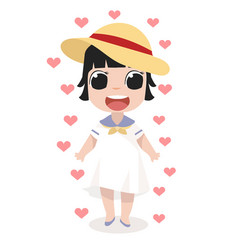little girl standing with heart vector image