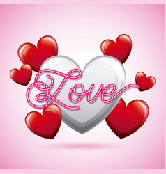 love calligraphic white heart valentines day vector image
