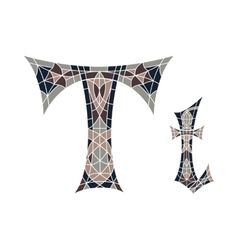 Low poly letter T in brown mosaic polygon vector