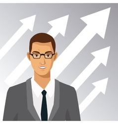 Man with glasses suit business arrow growth vector