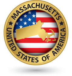 Massachusetts state gold label with state map vector
