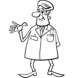 medic doctor black and white cartoon vector image