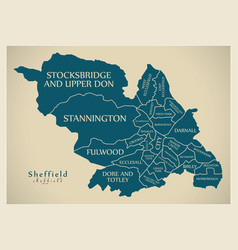 Modern city map - sheffield city of england with vector