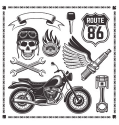 Motorcycle and attributes of bikers elements vector