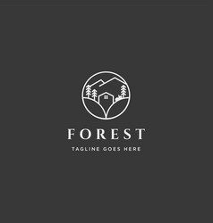 Mountain forest nature badge line simple logo vector