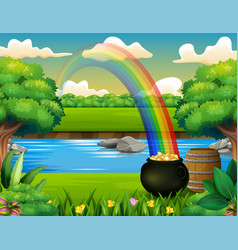 Nature background with cauldron of gold in grass vector