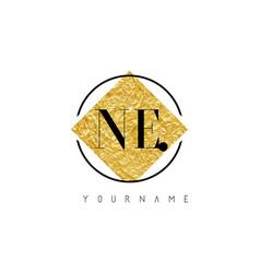 ne letter logo with golden foil texture vector image