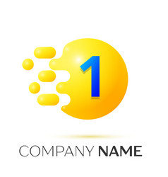 Number one splash logo yellow dots and bubbles vector