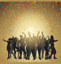 party people on a confetti background vector image