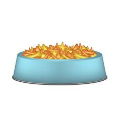 Pet food in blue bowl vector