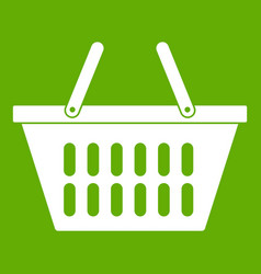 plastic shopping basket icon green vector image