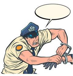 Policeman puts handcuffs arrest vector