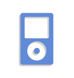Portable music device neon blue icon with vector
