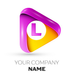 Realistic letter l symbol in colorful triangle vector
