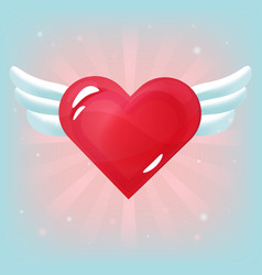 red heart with white wings on light background vector image