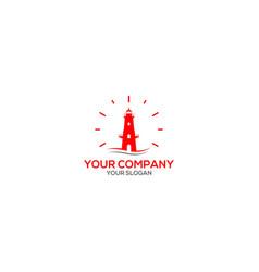 red lighthouse logo design vector image