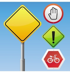 Road signs with different icons vector