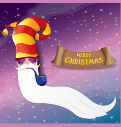 rock n roll santa claus with smoking pipe vector image