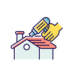 roof constructing rgb color icon vector image