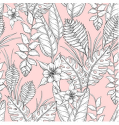 seamless monochrome floral pattern with hand drawn vector image