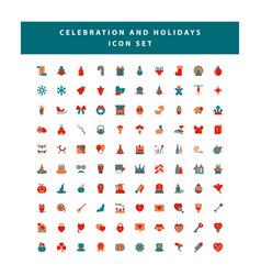 set celebration and holidays icon set vector image