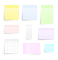 Set different types sticky note isolated vector