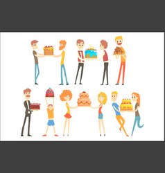 set happy and loving people celebrating vector image