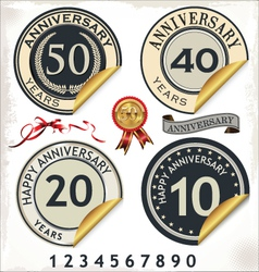 Set of anniversary labels vector image