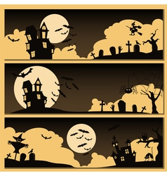Set of Halloween banner Holiday design vector image