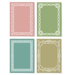 set vintage frames decorative border corners vector image