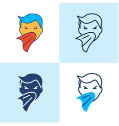 sneezing person icon set in line style vector image