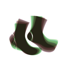 socks sign colorful icon shaked with vector image