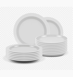 Stack plates kitchenware ceramic dishes for vector