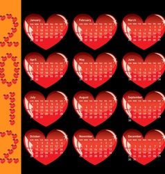 stylish calendar with red hearts for 2012 sundays vector image