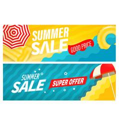 Summer super sale banners set vector