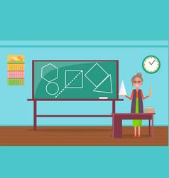 teacher stand near blackboard with drawn figures vector image