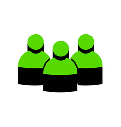 team work sign green 3d icon with black vector image