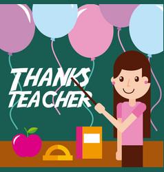 Thanks teacher girl apple book balloons vector
