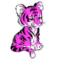tiger color inscription vector image