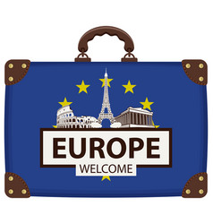 Travel bag with eu flag and landmarks of europe vector
