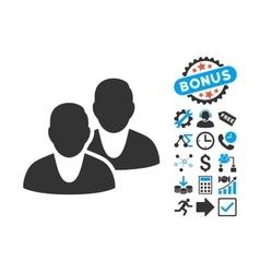 Users Flat Icon with Bonus vector image