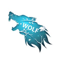 werewolf wolf dog raven crow - paper vector image